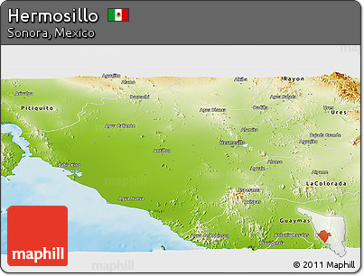 Free Physical Panoramic Map of Hermosillo