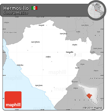 Free Gray Simple Map of Hermosillo