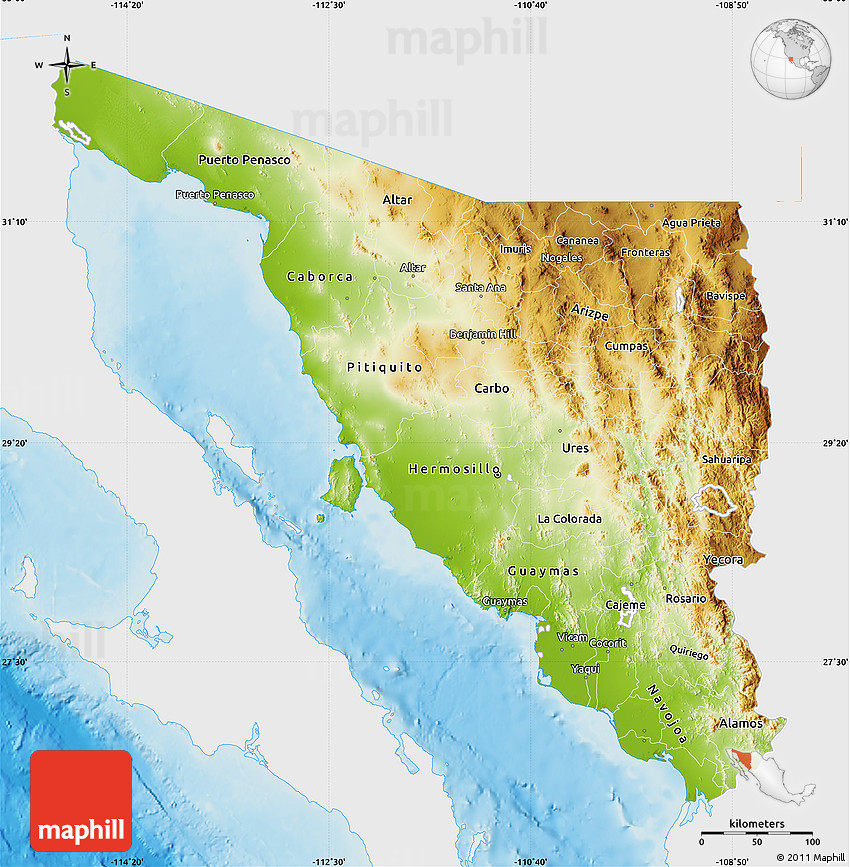Physical Map of Sonora, single color outside