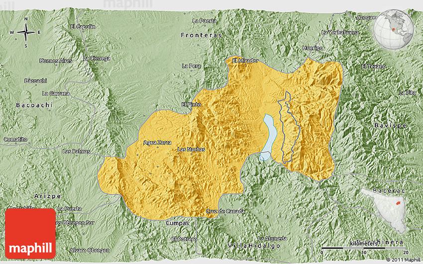 Savanna Style 3D Map of Nacozari De Garcia