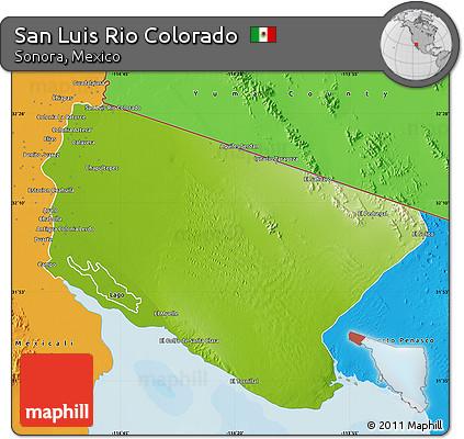 Free Physical Map Of San Luis Rio Colorado Political Outside