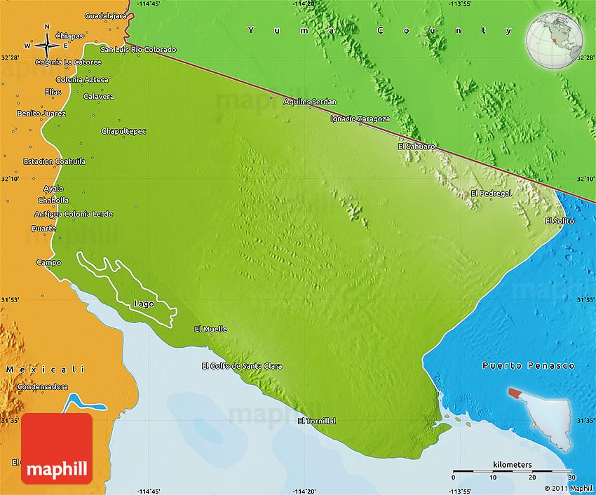 Physical Map Of San Luis Rio Colorado Political Outside