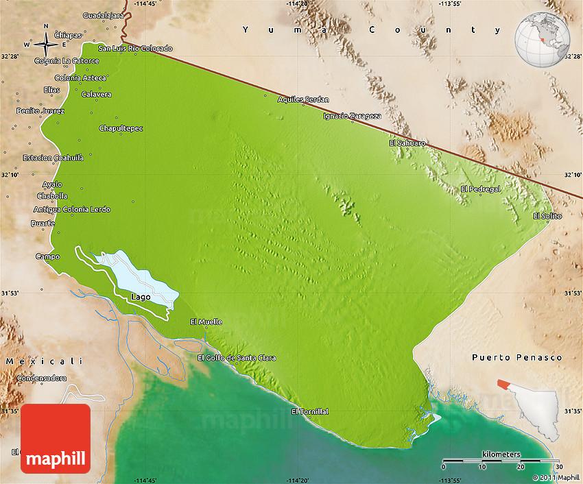 Physical Map Of San Luis Rio Colorado Satellite Outside