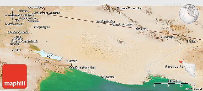 Satellite Panoramic Map Of San Luis Rio Colorado