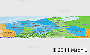 Political Shades Panoramic Map of Tabasco