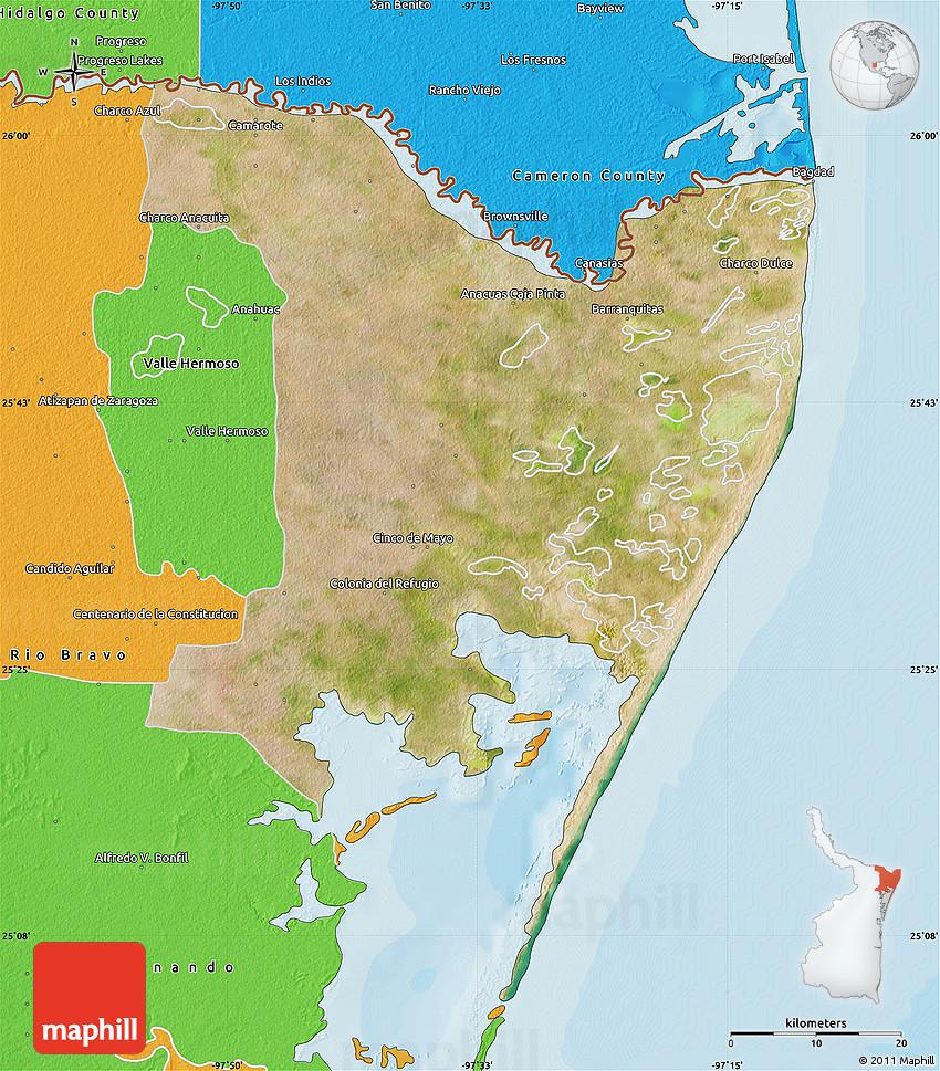 Satellite Map of Matamoros, political outside
