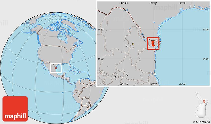 Rio Bravo Mexico Map.Gray Location Map Of Rio Bravo
