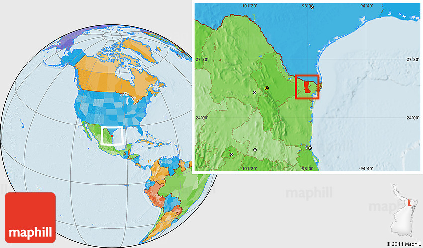 Rio Bravo Mexico Map.Political Location Map Of Rio Bravo