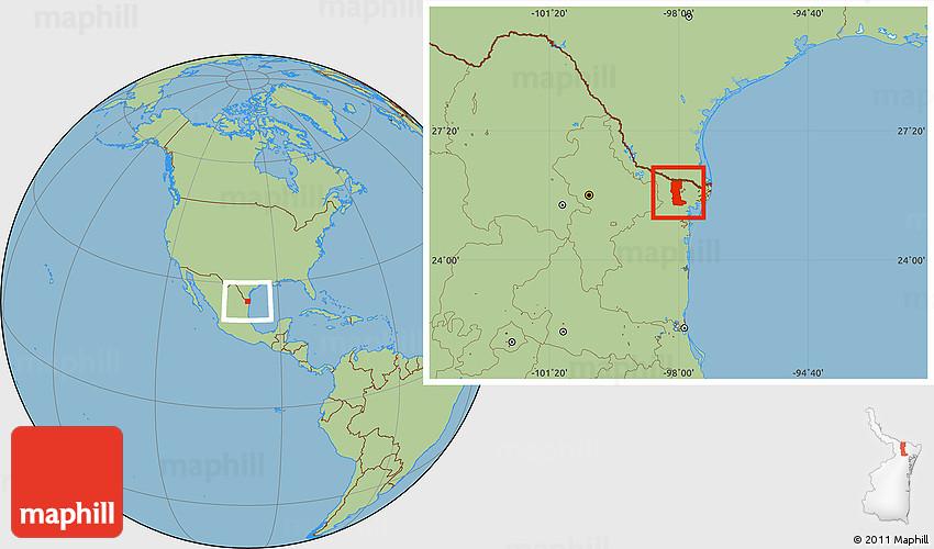 Rio Bravo Mexico Map.Savanna Style Location Map Of Rio Bravo