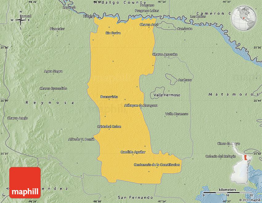 Rio Bravo Mexico Map.Savanna Style Map Of Rio Bravo