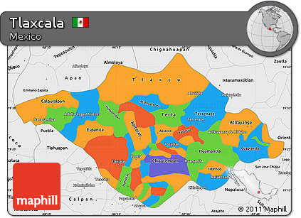 Free Political Simple Map Of Tlaxcala Single Color Outside Borders