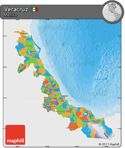 Free Political Map Of Veracruz Single Color Outside