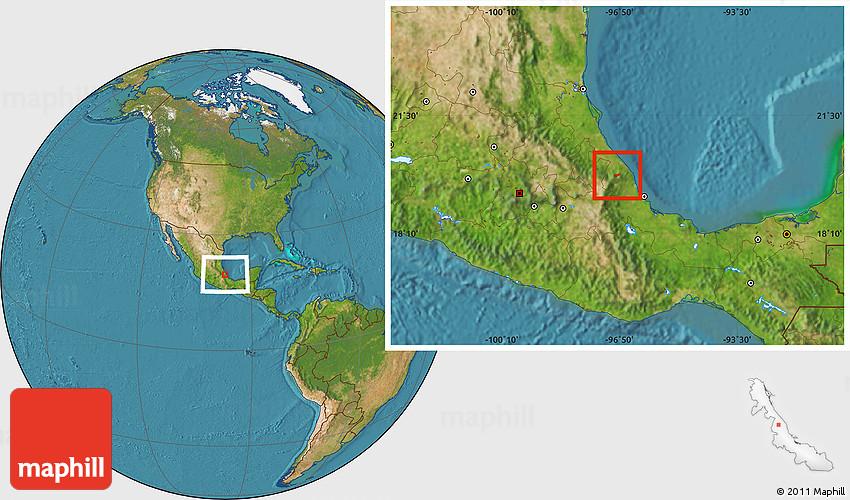 Satellite Location Map of Tenochtitlan