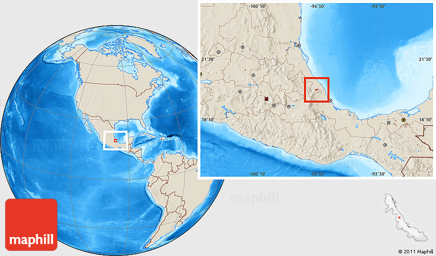 Shaded Relief Location Map of Tenochtitlan