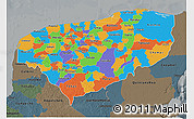 Political 3D Map of Yucatan, darken, semi-desaturated