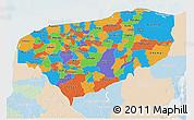 Political 3D Map of Yucatan, lighten