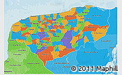 Political 3D Map of Yucatan, political shades outside