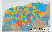 Political 3D Map of Yucatan, semi-desaturated