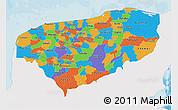 Political 3D Map of Yucatan, single color outside
