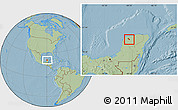 Savanna Style Location Map of Acanceh, hill shading