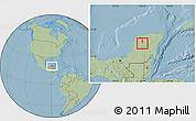 Savanna Style Location Map of Akil, hill shading