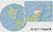 Savanna Style Location Map of Dzitas, highlighted parent region, hill shading