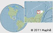 Savanna Style Location Map of Kanasin, highlighted parent region, hill shading