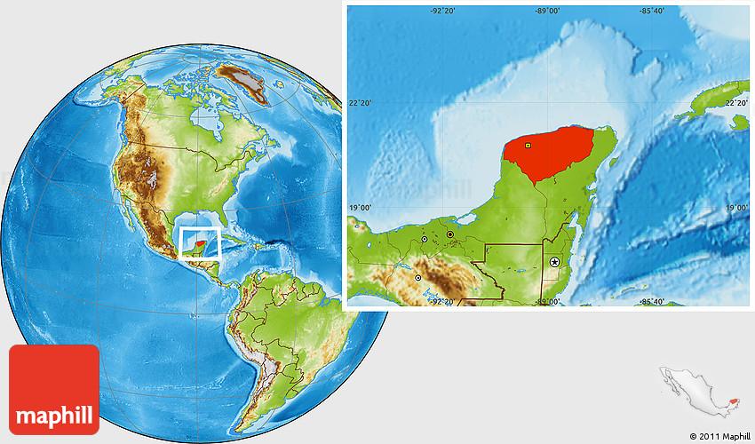 Physical Location Map of Yucatan on zacatecas map, oaxaca map, pampas map, mahahual map, baja map, cozumel map, cancun map, belize map, merida map, quintana roo map, mexico map, riviera maya map, tenochtitlan map, puerto rico map, chiapas map, hawaii map, campeche map, mesoamerica map, panama map, guadalajara map,