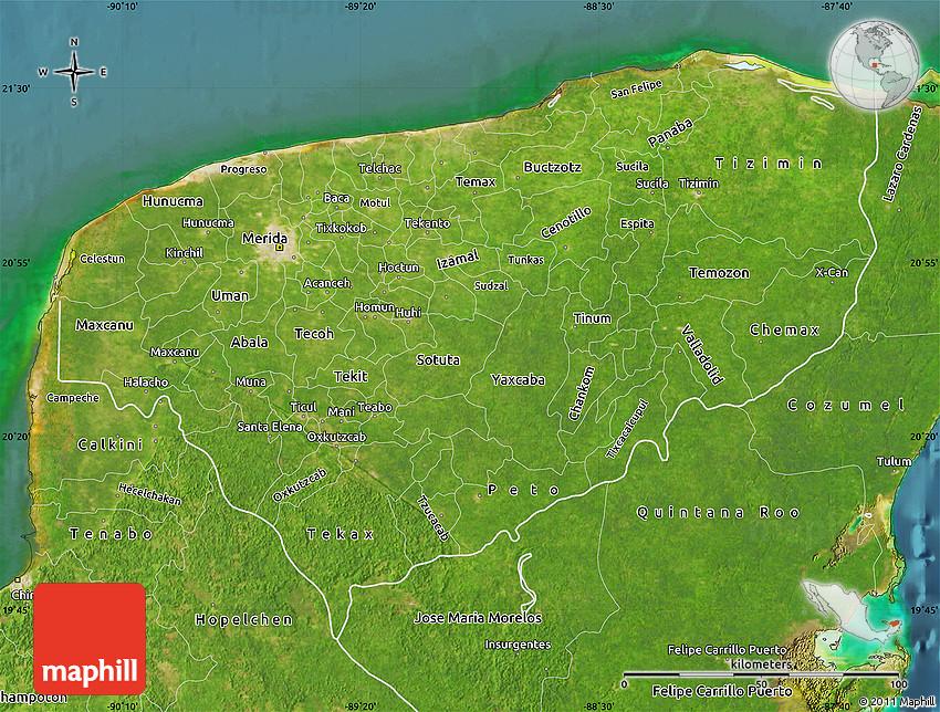 Satellite Map of Yucatan