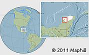 Savanna Style Location Map of Muna, highlighted parent region, hill shading