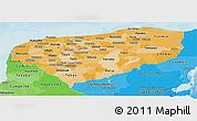 Political Shades Panoramic Map of Yucatan