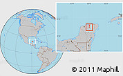 Gray Location Map of Quintana Roo