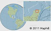 Savanna Style Location Map of Quintana Roo, hill shading