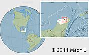 Savanna Style Location Map of Sucila, highlighted parent region, hill shading