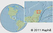 Savanna Style Location Map of Tekom, hill shading