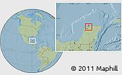 Savanna Style Location Map of Telchac Puerto, hill shading