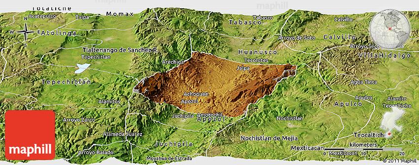 Jalpa Zacatecas Mexico Map.Physical Panoramic Map Of Jalpa Satellite Outside