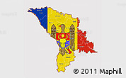 Flag 3D Map of Moldova, flag centered