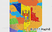 Flag 3D Map of Moldova, political outside