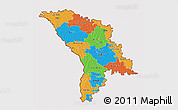 Political 3D Map of Moldova, cropped outside