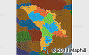 Political 3D Map of Moldova, darken