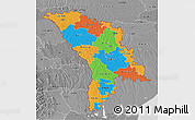 Political 3D Map of Moldova, desaturated