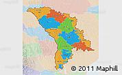 Political 3D Map of Moldova, lighten