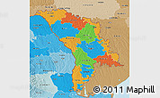 Political 3D Map of Moldova, political shades outside