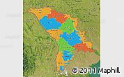 Political 3D Map of Moldova, satellite outside