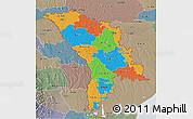Political 3D Map of Moldova, semi-desaturated