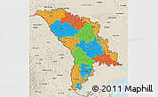 Political 3D Map of Moldova, shaded relief outside