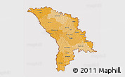 Political Shades 3D Map of Moldova, cropped outside