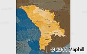 Political Shades 3D Map of Moldova, darken