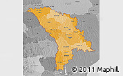 Political Shades 3D Map of Moldova, desaturated